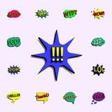 Komisk anförandebubbla med uttryckstextsymbolen universell uppsättning för komiska symboler för rengöringsduk och mobil stock illustrationer