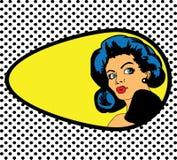 Komisk förälskelsevektorillustration av den förvånade kvinnaframsidan på pricklodisar Royaltyfri Foto