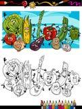Komisk grönsaktecknad film för färgläggningbok Royaltyfri Bild