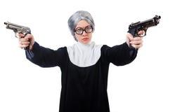 Komisk nunna som isoleras på vit Arkivbild