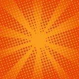 Komisk orange bakgrund för Retro strålar Fotografering för Bildbyråer