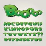 Komisk pop Art Alphabet för fasa och nummer stock illustrationer