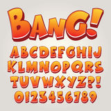 Komisk pop Art Alphabet och nummer stock illustrationer