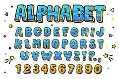 Komisk retro bokstavsuppsättning Alfabetbokstäver och nummer i stil av komiker, popkonst stock illustrationer