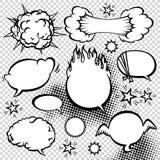 Komisk samling för stilanförandebubblor Rolig illustration för designvektorobjekt arkivfoto