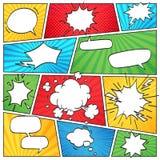 Komisk sidaorientering Randig urklippsboksida för roliga komiker med rökmoln och vektorn för bakgrund för anförandebubblor den re royaltyfri illustrationer