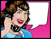 Komisk stilkvinna för tappning på telefonen Arkivfoto