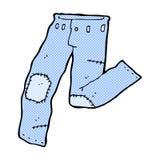 komisk tecknad film lappad gammal jeans Royaltyfri Foto