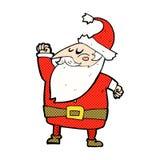 komisk tecknad film Santa Claus som stansar luft Arkivbilder