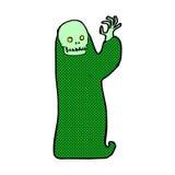 komisk tecknad film som vinkar den halloween likätande onda anden Royaltyfria Bilder