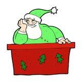 komisk tecknad film uttråkade Santa Claus Arkivbild