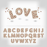 Komisk tecknad filmchoklad med bokstäver för godishjärtaalfabet 3d Arkivbilder
