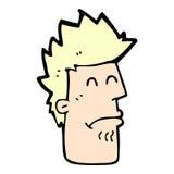 komisk tecknad filmman som känner sig sjuk Arkivfoto
