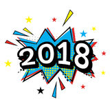 2018 Komisk text i popet Art Style Arkivfoto