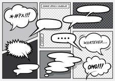Komiska anförandebubblor för tecknad film stock illustrationer