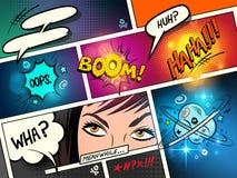 Komiska anförandebubblor och effekter stock illustrationer