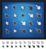 Komiska datormarkörer, pekare och pilsymboler vektor illustrationer