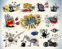 komiska designelement för bok Royaltyfria Bilder
