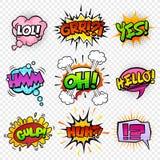 Komiska ljudeffekter set-4 stock illustrationer