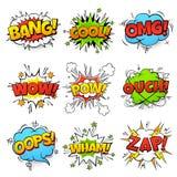 komiska ord Tecknad filmanförandebubblan med zap text för powwtfbang Uppsättning för vektor för ballonger för komikerpopkonst stock illustrationer