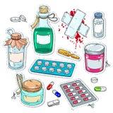 Komiska stilsymboler, av medicinska droger, flaskor av mediciner Arkivbild