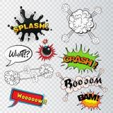 Komiskt anförande bubblar solida effekter, molnexplosion vektor illustrationer