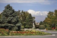 Komitas广场在Vagharshapat 的臂章 免版税图库摄影