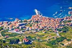 Komiza on Vis island aerial view Royalty Free Stock Photography