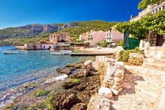 Komiza on Vis island coastline Stock Image
