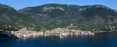 Komiza, Vis island - Croatia. Panorama of Komiza town in Vis island Stock Photos