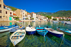 Komiza on Vis island turquoise waterfront Royalty Free Stock Images