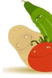 Komkommer, Aardappel, Tomaat Stock Foto's