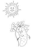 Komkommer en de zwart-wit zon, stock illustratie