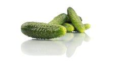 Komkommers die over witte achtergrond worden geïsoleerd Royalty-vrije Stock Fotografie