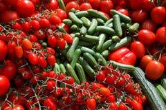 Komkommers en tomaten - vers van de markt Stock Fotografie