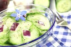 Komkommersalade met rode uien en boragebloem Royalty-vrije Stock Fotografie