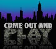 Komm ut och spela gyckel för uteliv för utelivstadshorisont Royaltyfri Bild