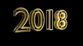 Komma 2018 nya år, guld- smyckeningrepp på en svart bakgrund, tolkning 3d Royaltyfri Bild
