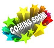 Komma snart meddelande av ny produkt- eller lageröppningen Arkivbild