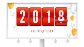 Komma snart 2018 nya år Lyckönsknings- affisch på affischtavlan Begrepp av kortet med att flyga upp kulör uppblåsbar Arkivfoto
