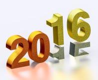 Kommande år 2016 på guld- silverbronsillustration Arkivbilder