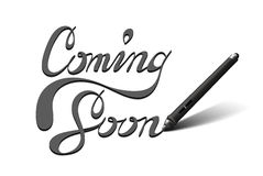 Kommen bald kalligraphische Beschriftung Stockbilder