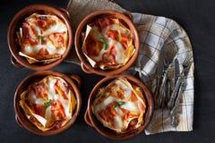 Kommen met Lasagna's Royalty-vrije Stock Afbeeldingen