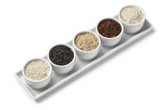 Kommen met verschillende types van rijst Stock Foto's