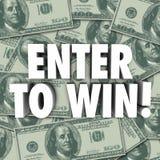 Kommen Sie herein, um Geld-Dollar-Hintergrund-Wettbewerb-Lotterie-Prize Preis zu gewinnen vektor abbildung