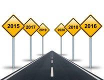 Kommende Jahre Verkehrsschilder und Straßenausdehnungen in den Abstand stock abbildung