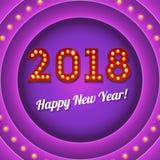 Kommendes neues Jahr 2018, Retro- Fahne mit Glühlampen und Glanz Lizenzfreie Stockfotos