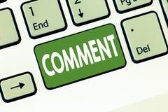 Kommentar för textteckenvisning Muntlig skriftlig anmärkning för begreppsmässigt foto som uttrycker meddelande reaktion för åsikt arkivbilder