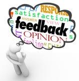 Kommentar för åsikt för granskning för tänkare för återkopplingstankemoln Fotografering för Bildbyråer