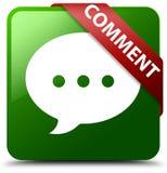Kommentargesprächsikonengrün-Quadratknopf Lizenzfreies Stockbild